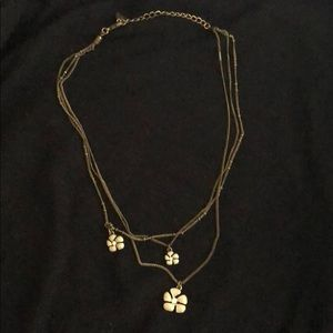Antique brass delicate layered necklace